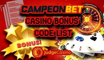 Campeonbet casino bonus code